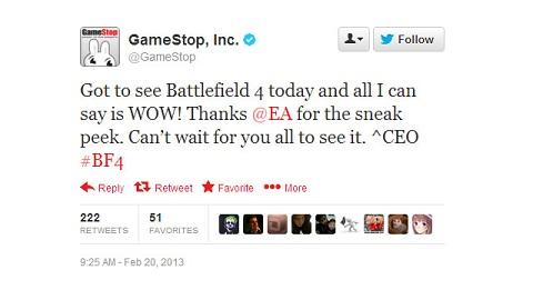 Battlefield 4 - GameStop twitter