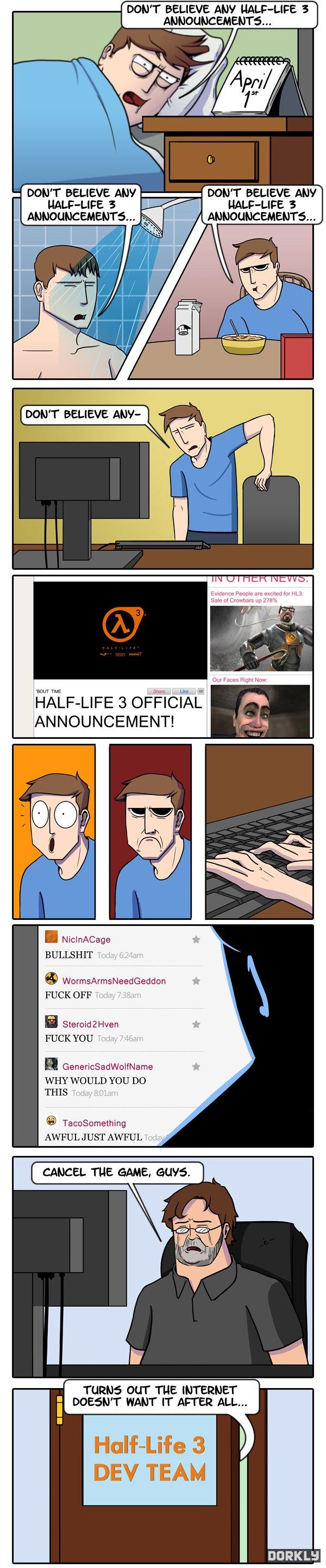 Dorkly - No creas los anuncios de Half-Life 3 del 1ro de Abril