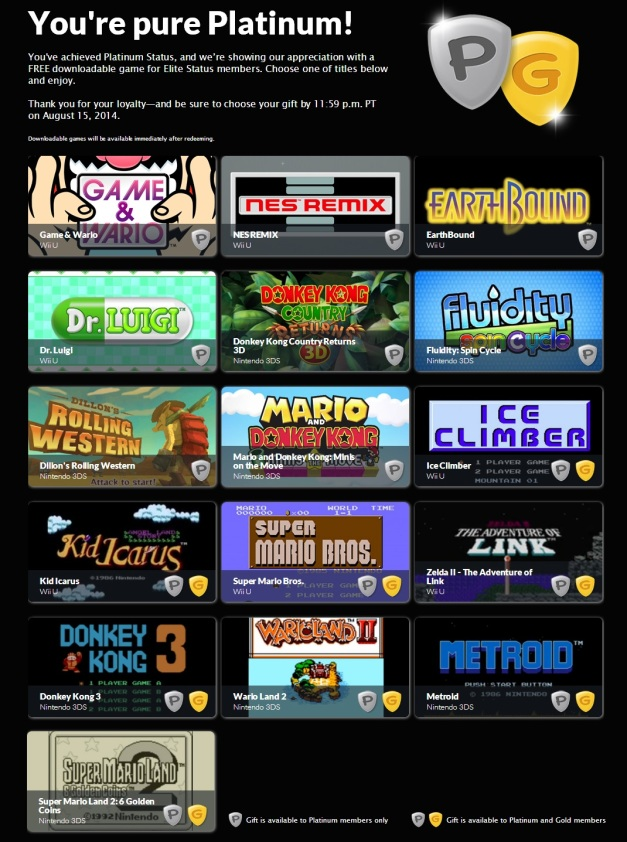 Club Nintendo 2014 - Premios Platinum y Gold