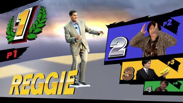 Reggie, Sakurai, Iwata y Miyamoto en Super Smash Bros