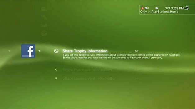 PS3 - Compartir trofeos en Facebook