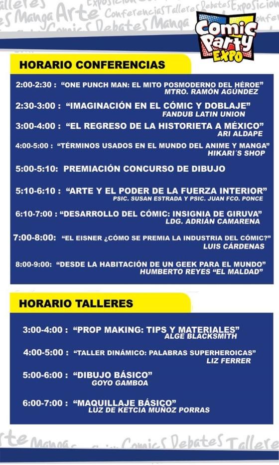 Comic Party Expo 2016 - Conferencias y Talleres